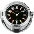 WEMPE Porthole Clock 140mm Ø (REGATTA Series) Porthole clock chrome plated with flag-themed clock face on black background