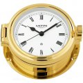 WEMPE Porthole Clock 140mm Ø (REGATTA Series) Porthole clock gold plated with Roman numerals on white clock face