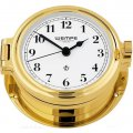 WEMPE Porthole Clock 140mm Ø (REGATTA Series) Porthole clock gold plated with Arabic numerals on white clock face