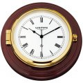 WEMPE Ship Clock 210mm Ø (SKIPPER Series) Ship clock brass in mahogany wood