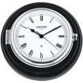WEMPE Ship Clock 210mm Ø (SKIPPER Series) Ship clock chrome plated on black wooden board