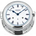 WEMPE Mechanical Bell Clock 185mm Ø (ADMIRAL II Series) Bell clock chrome plated with white clock face and blue frame