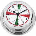 WEMPE Yacht Clock 110mm Ø with alarm function/radio sectors (SKIFF Series) Yacht clock chrome plated