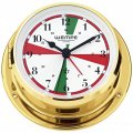 WEMPE Yacht Clock 110mm Ø with alarm function/radio sectors (SKIFF Series) Yacht clock brass