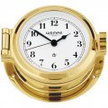 WEMPE Porthole Clock 120mm Ø (NAUTICAL Series) Porthole clock brass with Arabic numerals on white clock face